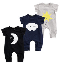 Buy Baby Boy Romper Girls Jumpsuit Kids Clothes Summer Newborn Cotton Baby Body Suit Cartoon Moon Short Sleeve Babies Clothes for $3.98 in AliExpress store