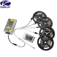 SMD3528 RGB LED Strip waterproof non-waterproof 10/15/20M led Tape diode ribbon with 24Key IR Controller+DC 12V power adapter