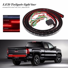 "60"" Flexible LED Light Strip Tailgate Bar Backup Reverse Brake Tail Turn Signal Light 5-Function Red White For Truck SUV Pickup"