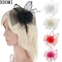 5color Women Hair Accessories European Style Veil Feather Fascinator Black Cocktail Party Wedding Headband Hat Bride Headwear(China)