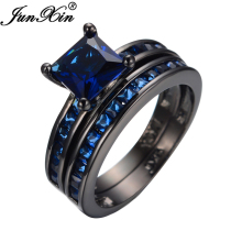 JUNXIN Fashion Jewelry  Vintage Black Gold Filled Couple Rings For Women Blue Crystal Cubic Zircon Promotion Ring Bijoux