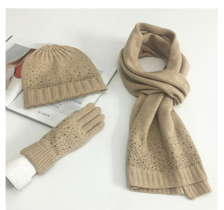 hat scarf set  Scarf, Hat & Glove Sets knitted  winter hat and scarf woman with diamond  (3)