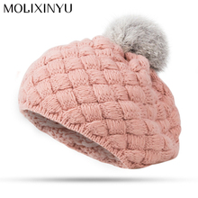 MOLIXINYU 2017 New Baby Winter Hat Knit Crochet Baby Beret Girl Cap For Children Cotton Warm Cap Cute Warm Kid Beanie Unisex(China)
