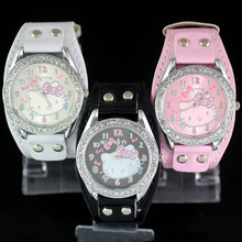 Fashion Cute Women Girl Hello kitty KT cat style crystal Wide Leather strap Wrist Watch