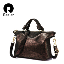 REALER brand genuine leather bag luxury handbags women bags designer high quality ladies cross body bags real leather tote bag(China)
