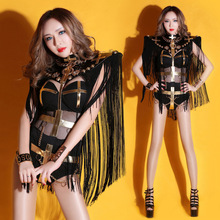 Dance in pattaya bar ds costumes tassel sexy see-through atmospheric DJ female clothing(China)