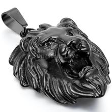 New Vintage Stainless Steel Necklaces Men Animal Lion Head Pendant Black Color with 22 inches Chain Fashion collar collane(China)