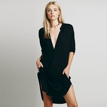 Summer Dress Women Fashion Sexy Deep V Neck Pocket Three Quarter Sleeve Side Split Casual Loose Dress Five Colors