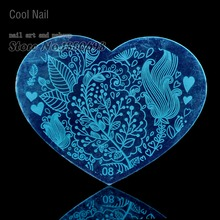 New Heart Shape Nail Art Stamping Template Image Plate Nail Supplies Tool Beautiful Swirl Leaf Autumn Lover H08