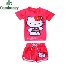 Hello Kitty Girls Swimsuit Snow Queen Baby Kids Swim Wear Suit for Toddler Snow Queen Mermaid Bathing Beach Set Children Clothes