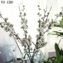 YO CHO 11 Pcs Long Artificial Cherry Blossom Tree Branches For Wedding Decoration Pink Sakura Christmas Decorations For Home(China)