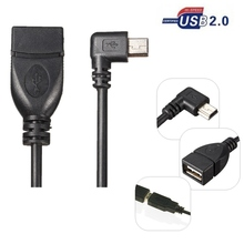 90 Degree Right Angel Mini USB B 5pin Male to USB2.0 A Female Data Sync Charge OTG Cable left Elbow For MP3 MP4 GPS Cell Phone