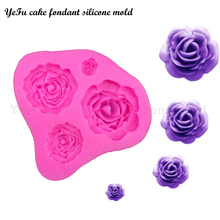 YeFu 3D roses Flowers chocolate wedding cake decorating tools DIY baking fondant silicone mold kitchen Baking accessories T0116