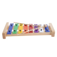 8 Notes Wooden Children Kid Xylo-phone Glockenspiel Musical Instrument Toy Gift Music New