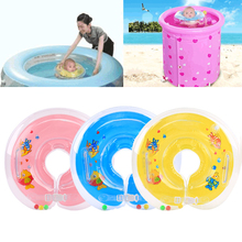 Summer Cute Kids Baby Inflatable PVC Swimming Ring Child Baby Adjustable Sea Swimming Neck Float Ring Bathing Safety Protector