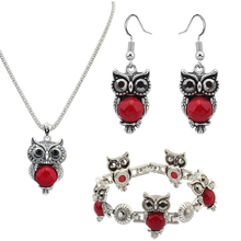 2017 new resin sets of European and American fashion ladybug Elephant owl Ngau Tau earrings necklace set of animal jewelry suite