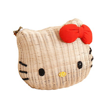 Hello kitty women handbags rattan straw  girl's beach bag cartoon fabric high quality shoulder bags for girls