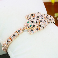 B17086 black white crystal leopard bracelets zinc alloy rose gold color silver color with Austria crystal fashion lady jewelry(China)