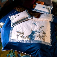 Plants and birds embroidery duvet cover set queen king 100% Egyptian cotton blue quilt cover/luxury satin bed sheets/pillow case