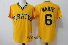 MLB Men's Pittsburgh Pirates 6 Marte Yellow 2017 Baseball Throwback Cool Base Player Jersey Free Shipping(China)