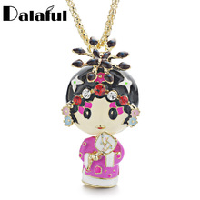 Enamel Beijing Peking Opera Ethnic Doll Necklace Chinese Wind Crystal Long Necklaces Pendants For Women Gift X612(China)