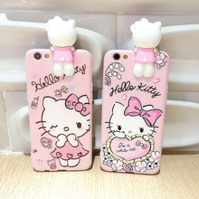 New Cute Cartoon 3D Stereo Hello Kitty Phone Case Cover For iPhone 7 7 Plus 6 6s Plus Case Japan Soft TPU Pink Back Cover Shell