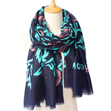 2017 New Arrival Winter Fashion Women France Brand Design Street deep blue flower Printed Scarf Big Size Shawls