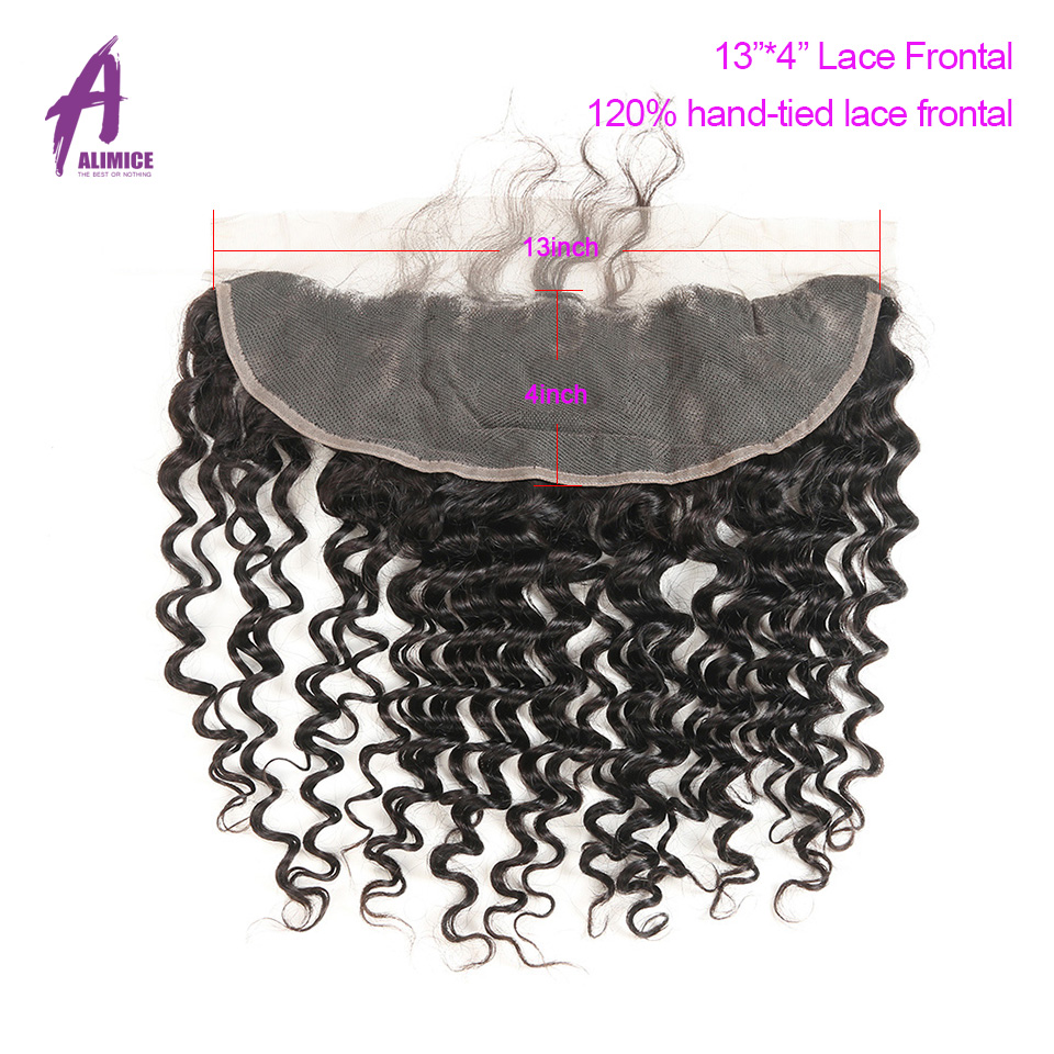 ALIMICE Hair Indian Deep Wave Hair 13X4 Ear To Ear Lace Frontal Closure 100% Non Remy Natural Color Human Hair Closure 10-24Inch (1)