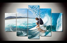 5Pcs Unframed Nice Seascape Ocean Waves Surfing Painting Modern Home Wall Decor Room Canvas Art HD Print Painting Picture Arts