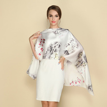 2017 New Arrival Women Scarf luxury brand Silk Satin Silk long Scarf 100% Mulberry Silk Printing long shawls Scarves Hot Sale(China)