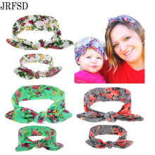 JRFSD Mom and Kid Headband Pair Set Top Knotted Headband Fashion Hair Bands  Cotton Headwrap Flower Hair Accessories For Women