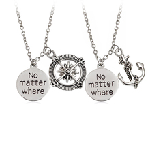 "2pcs / set  Trendy Punk Style Anchor Compass Letter ""No matter where"" Necklace Couple Unisex Choker For Women Man Gift Jewelry"