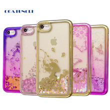 "Soft TPU Phone Case For Apple iphone 7 7G 4.7"" Plating shell Case Dynamic Bling Liquid Glitter Quicksand Back Cover For iphone7"