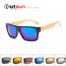 OUTSUN Wooden Sunglasses Environmentally New fashion Men/Women Glass Bamboo Sunglass Retro Vintage Wooden Frame UV Sun Glasses(China)
