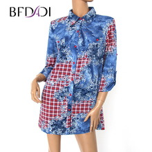 BFDADI 2017 Spring Shirts Women 3/4 Sleeve Printed Long Blouses Lady Fashion Loose Tops Blusas Big size 2848