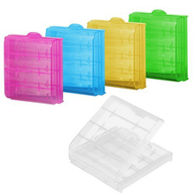 5 pcs/lot Coloful Battery Holder Case 4 AA AAA Hard Plastic Storage Box Cover For 14500 10440 Battery