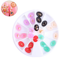 1Box  6 colors Mixed 6*8mm DIY design nail art Gold foil oval Resin Rhinestones,Uv Gel  Japanese Nail jewelry decoration tool