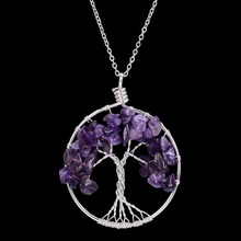 Handmade  Crystal Tree of Life Pendant Necklaces Silver Color Natural Stone Necklaces For Women Jewelry