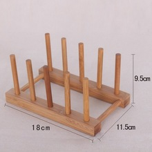 1pcs Wooden Drainer Plate Stand Wood Dish Rack 7 Pots Cups Display Holder Kitchen