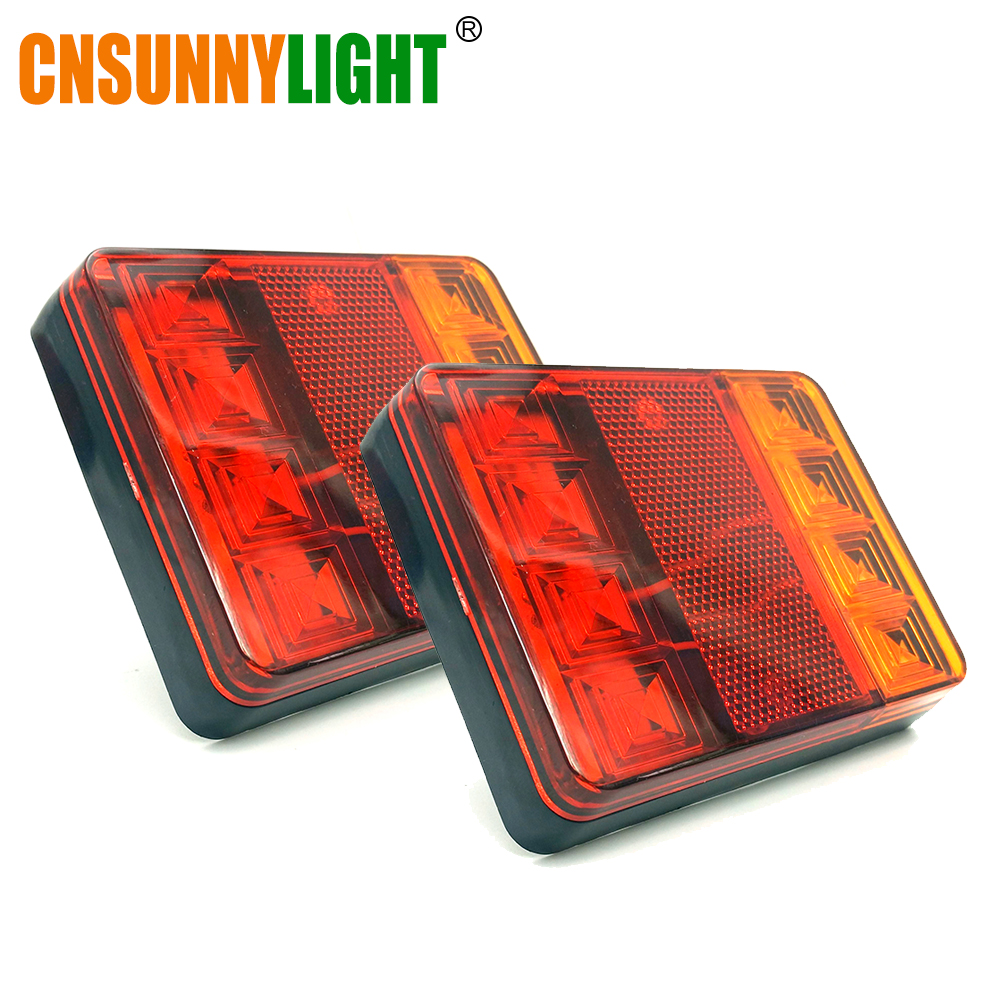 CNSUNNYLIGHT Car Truck Rear Tail Light Warning Lights Rear Lamps Waterproof Tailight Rear Parts for Trailer Caravans DC 12V 24V (2)