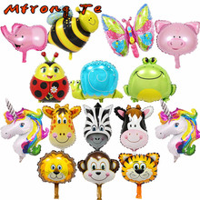 Mtrong Te 50pcs mini animal Helium foil balloons monkey zebra cow tiger elephant balloons Animal Air Ballons theme party suppies