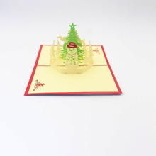 3D Laser Cut Handmade Red Cover New Year Christmas Santa Claus Snowman Paper Greeting Cards PostCard Children Adult Gift(China)