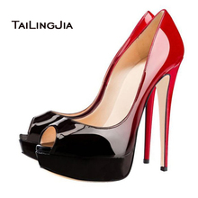 2017 Sexy Women Gradient Black Red Patent Leather Skyhigh Party Shoes High Heel Evening Peep Toe Platform Stiletto Pumps
