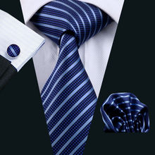 LS-337 Hot Men`s Tie Blue Striped 100% Silk Jacquard Woven Gravata Tie Hanky Cufflink Set For Men Formal Wedding Party Business(China)