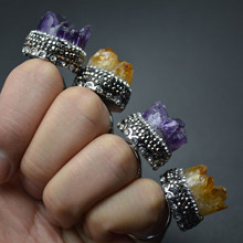 Cool Paved Black Crystal Beads Natural Drusy Amethyst Citrine Stone Bridal Sets Rings Fashion Party Jewelry