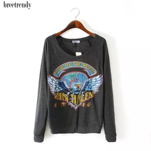breetrendy Ladies Vintage Eagle Print Long sleeve O neck T shirt T-shirt Women Casual Tee tops(China)
