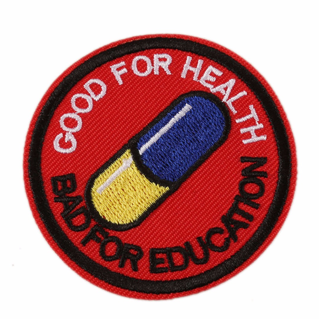"""New Japanese Akira Kaneda Good For Health Bad For Education Iron On 2.5"""" Patch 65*65mm"""