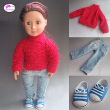 Fashion Clothes for dolls Knitting linen + hole jeans fits american girl Accessories for dolls(China)