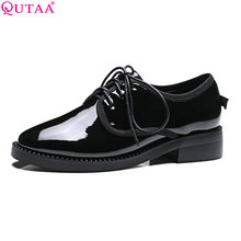 QUTAA 2017 Women Pumps Summer Ladies Shoes Low Heel PU Leather Lace Up  Black Elegant Round Toe Woman Wedding Shoes Size 34-43