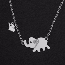 New Fashion Style Titanium Steel Double Elephant Necklaces Mama Baby Pendants Dropshipping Jewelry